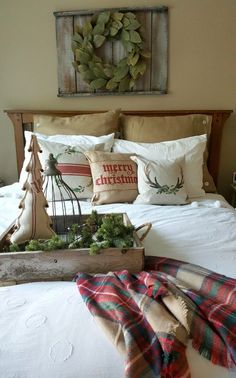 welcoming guest bedroom is cozy and casual, love the nuetral rustic Christmas bedroom decor ideas. Christmas Bedroom, Rustic Christmas, Christmas Home, Christmas Ideas, Xmas, Merry Christmas, Tartan Christmas, Christmas Signs, Christmas 2019