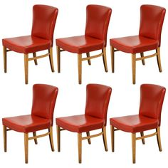 Set of Six Mid-Century Modern Dining Chairs in Red Vinyl 1