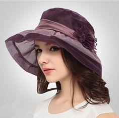 Silk flower bucket hats for summer wide brim womens hat