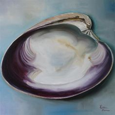 Buy Original Art by Kristine Kainer | oil painting | Atlantic Clam Shell at UGallery