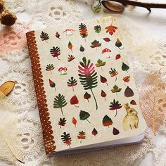 Illustrated notebook  Autumn Leaves by MinaSmoke on Etsy