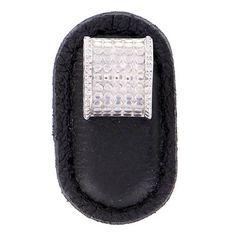 Vicenza Designs Tiziano Rectangle Novelty Knob Strap Color: Black, Finish: Satin Nickel