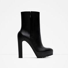 ZARA - WOMAN - HIGH HEEL LEATHER ANKLE BOOTS