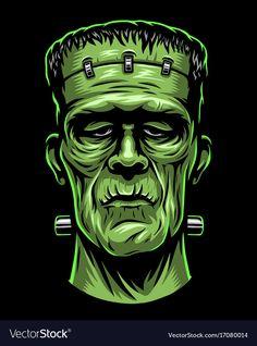 Color illustration of Frankenstein head Frankenstein Tattoo, Halloween Illustration, Illustration Art, Halloween Rocks, Halloween Art, Halloween Poster, Arte Horror, Horror Art, Funny Cartoon Faces