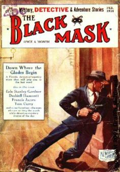 Vintage Black Mask crime fiction pulp magazine cover, featuring Erle Stanley Gardner and Dashiell Hammett