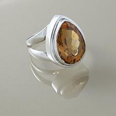 Sterling Silver Faceted Citrine Almond Drop Ring (Indonesia) size 7