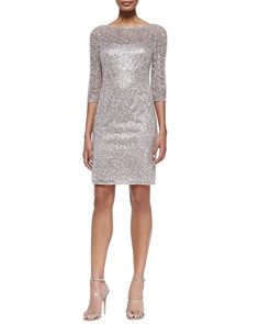 Kay Unger New York Sequined Lace-Overlay Cocktail Dress