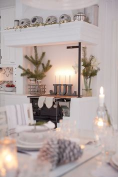 Old kitchen in a home in northern Sweden decorated for Christmas