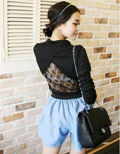 tulip back lace panel slimfit shirt  CODE: MGM858  Price: SG $39.95(US $32.22)