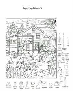 Hidden Picture Games, Hidden Picture Puzzles, Abstract Coloring Pages, Colouring Pages, Coloring Books, Hidden Object Puzzles, Hidden Objects, Art Activities For Kids, Preschool Activities