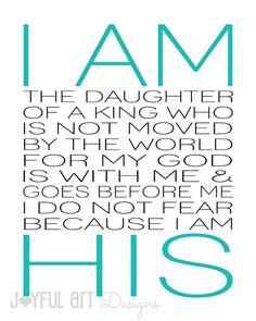 I Am His PRINTABLE. Christian Wall Art. by JoyfulArtDesigns