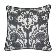 This charming pillow offers plush style for your favorite chaise, settee, or wingback.     Product: Pillow     Construction Material:  Cotton cover with a feather down fill     Color: Gray and white  Features: Insert included Dimensions: 18 x 18    Cleaning and Care: Dry clean only