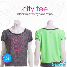 City Tee in Black Heather/Gecko Stripe Autumn, T Shirts For Women, City, Tees, Shopping, Black, Fashion, Moda, Fall