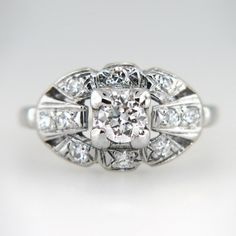 Pristine Vintage 1940's .75ctw Diamond Engagement Ring 14k | Antique & Estate Jewelry | Jewelry Finds
