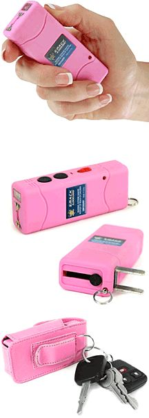 Pink Keychain Stun Gun attaches to your keys. A portion of the proceeds goes to fight Breast Cancer. Also comes in black.