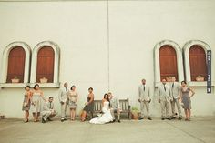 super stylish bridal party in muted tones of grey  photo by Orange Turtle Photography | CHECK OUT MORE IDEAS AT WEDDINGPINS.NET | #weddings #weddinginspiration #inspirational