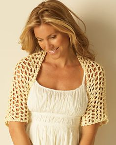 Crochet Shawl Light Crochet Shoulder Shrug: free crochet pattern - A light crochet shoulder shrug is a great accessory in warmer months. Add to a dress for transition into night. Crochet Shrug Pattern Free, All Free Crochet, Knit Or Crochet, Crochet Scarves, Crochet Shawl, Crochet Clothes, Crochet Hooks, Crochet Shrugs, Crochet Summer