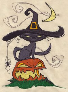 Black Cat, Spider, and Halloween Carved Pumpkin - Embroidered Linen Kitchen - Kitchen / Bath Towel with YOUR CHOICE of Colored Border. $12.99, via Etsy.