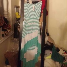 Brand new strapless bebe dress Brand new strapless bebe dress. Size LARGE. that I bought this month from BEBE store. it's too long for me I'm only 5 '1 I just want what I paid for the belt is not included I just want to show you how cute it would with it Bebe Dresses High Low