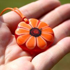 Orange daisy - fused glass pendant