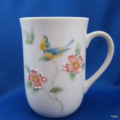 Otagiri Coffee Mug White Porcelain Embossed Pink Floral Blue Birds 8 oz #Otagiri