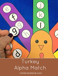 Turkey alphabet match for letter recognition and review as well as fine motor development.