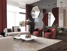 These moody burgundy shades make the mirror decor in this living room stand out. Try these colors in your own living room designs Living Room Modern, Interior Design Living Room, Living Room Designs, Home Modern, Modern Luxury, Modern Wall, Burgundy Living Room, Living Room Stands, Living Area