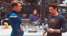 So apparently RDJ kept food hidden all over this set and they couldn't find where it was so they just kinda let him continue doing it. So that's his actual food he's offering and whenever he's eating in a scene, it's not scripted.