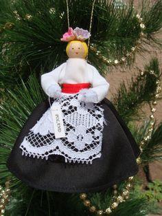 Poland clothespin doll ORNAMENT, black, white dress - polish - ready to ship White Lace, White Dress, Black And White, Metal Spring, Clothespin Dolls, Christmas Decorations, Christmas Ornaments, Pretty Black, Red Ribbon