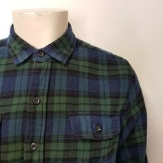 dc4d362e0e1 WOOLRICH Green Blue Black Watch Plaid Flannel Button Down Shirt Mens L  #Woolrich #ButtonFront
