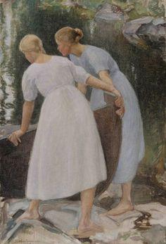 Finnish National Gallery - Girls Pushing a Boat, Pekka Halonen National Gallery, Found Art, Scandinavian Art, Classical Art, Helene Schjerfbeck, Woman Painting, Art Plastique, Portrait Art, Art World