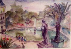 Lou Albert Lasard le jardin du Luxembourg, watercolor,  aquarelle, signée, signed, 31,5 x 48 cm expose à la galerie AGNES THIÉBAULT