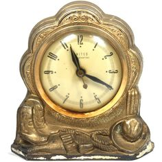 Vintage 70s Gold Metal Western Themed Clock Golden, Cowboy, Retro,... ($28) ❤ liked on Polyvore featuring home, home decor, gold home accessories, gold home decor, cowboy home decor and metal home decor