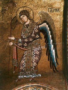 Archangel Gabriel from century Byzantine Mosaic on Cupola of the Martorana Church in Palermo Byzantine Art, Byzantine Icons, Arte Latina, Medieval Art, Renaissance Art, Orthodox Icons, Angel Art, 12th Century, Sacred Art