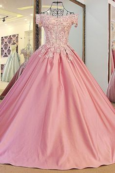 Pretty Beading Embroidery Ball Gown Quinceanera Dress,3D Lace Prom Dress,Off Shoulder Pink Quinceanera Dresses