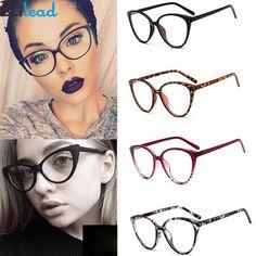 edf1220c6c Zilead Retro Cat Eye Clear Lens Spectacle Frame Brand Women Blue-ray Optical  Eyewear Frame Myopia Lens Frame Plain Glasses.