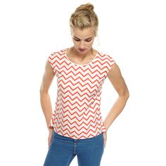 Forget about stripes and take it up a notch with our zig zag stripe in a bright pop of coral set against a fresh white base