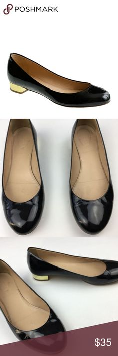 "J.Crew Janey patent flats black gold Womens J.Crew Janey patent flats black gold size 7 item 98428 $178 some marks/signs of wear - please refer to pictures  7/8"" heel. PRODUCT DETAILS Talk about well-heeled—our beloved ballets are rendered in sleek patent leather and finished with an altogether too-perfect tiny heel. (We always thought they should be put on a pedestal.) Timeless yet so modern, these wear-everywhere designer-favorite flats are in heavy rotation for fall and beyond.  Patent…"