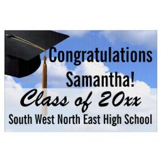 Large Graduation Yard Sign, Blue Sky Banner~ Blue sky background with black mortarboard cap and tassel. Personalized outdoor graduation party sign with your graduate's year, name, high school. Spectacular way to congratulate the graduate and welcome family and guests to your graduation party .