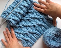 scarf knitted in baby blue blend wool by branda on Etsy, $69.00