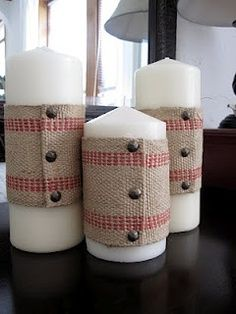 Burlap Ribbon: Would be really cute for a country Christmas theme. Use leftover jute webbing and nailheads from chairs Burlap Christmas, Christmas Candles, Country Christmas, Christmas Store, Christmas Snowman, Christmas Christmas, Christmas Wreaths, Christmas Decorations, Burlap Candles