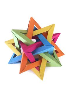Origami Five Intersecting Tetrahedra on Etsy, $6.00