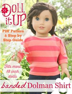 free pattern - Doll It Up American Girl shirt pattern American Girl Outfits, American Girl Crafts, American Doll Clothes, American Girls, Sewing Doll Clothes, Sewing Dolls, Girl Doll Clothes, Girl Dolls, Ag Dolls