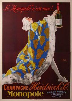1922, de Stall Joseph par Champagne Heidsieck & C Vintage Champagne, Vintage Wine, Vintage Ads, Champagne Taste, Retro Advertising, Vintage Advertisements, Joseph, Monopole, Wine Poster