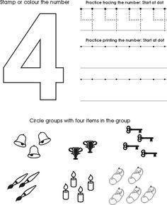 Number Four Worksheet | Free Preschool Printable