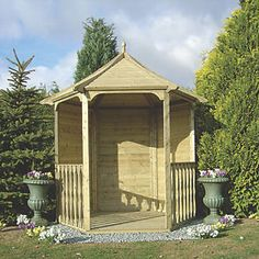 Shire Hexagon Arbour 2.16 x 1.87 x 2.6m Light Green | Arbours | Screwfix.com