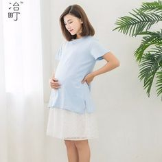 9dfc848a8de 2 color available korean style lace two pieces western elegant casual  maternity pregnant long dress