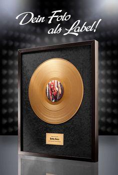 Goldene Schallplatte (Schwarz) - mit Fotodruck