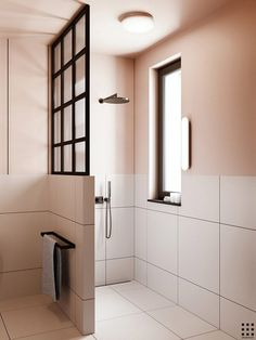 Eclectic bathroom with pink walls by Zrobym Architects #contemporarybathrooms