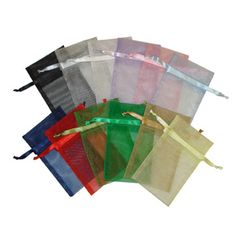 Drawstring Organza Pouches in 11 different colors! Now only $0.15 each! #jewelrypackaging #retail #wholesale #pouches #organza #summersale